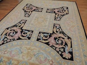 French 9x12 Savonnerie Aubusson Design Oriental Rug Black Beige