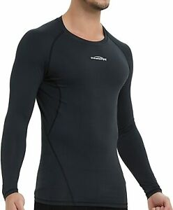 COOLOMG Men's Compression Long Sleeve T-Shirt Dry Sports Tights Baselayer Top