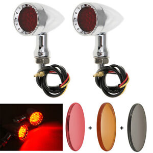 Chrome Motorcycle Bullet LED Turn Signal Red Lights Indicator For Harley Chopper