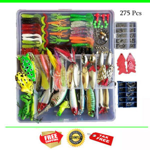 275 Pcs Fishing Lures for Freshwater and Saltwater Fishing Lure Set Plastic Box