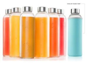 Glass Water Bottle 6 Pack 18oz Bottles With 6 Sleeves And Stainless Steel Caps