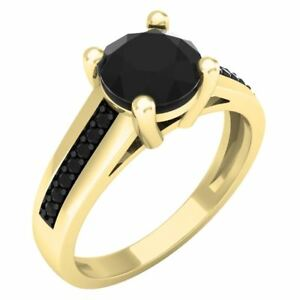 1.50 ct  14 ct Yellow Gold Round Black Diamond Solitaire With Accents  Ring