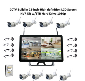 CCTV Build in 22-inch-High definition LCD WiFi NVR Kit w6TB Hard Drive 1080p