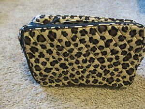 Vera Bradley Large Blush and Brush Makeup Case in leopard new