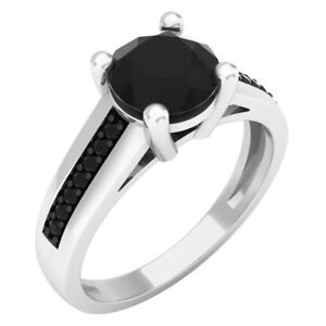 1.50 ct (ctw) 14 ct Gold Round Black Diamond Solitaire With Accents Bridal Ring