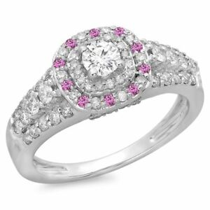 14 ct Gold Round Pink Genuine Sapphire & Diamond Vintage  Halo Engagement Ring