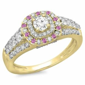 14 ct Yellow Gold Pink Genuine Sapphire Diamond Vintage Halo Engagement Ring