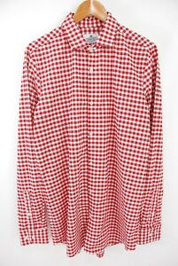 Mizzen + Main Dress Shirt Easy Care Quick Dry Red Gingham Check Tall Trim Fit L