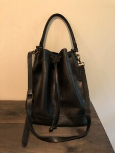 Madewell Black Leather Bucket Bag Crossbody Purse - Strap Needs To Be Re-Glued