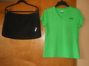 Set of 2 Women's Reebok Play-Dry Fitness Skort L & Fila Sport Shirt Top Size L