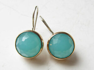 TURKISH FACETED AQUAMARINE QUARTZ 925K STERLING SILVER ROUND HANDMADE EARRINGS