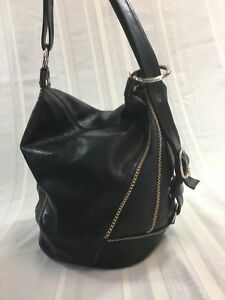 MARINO ORLANDI Black Large Leather Bucket Bag Adjustable Strap