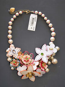BETSEY JOHNSON FLAT OUT LEATHER FLOWER PEARL & CRYSTALS STATEMENT BIB NECKLACE