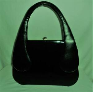 FABULOUS Shiny BLACK Patent Leather VINYL Large Framed VINTAGE PURSE Granny Bag