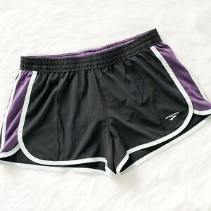 Brooks Womens Running Shorts Black and Purple Athletic Fitness Gym Short Size XL