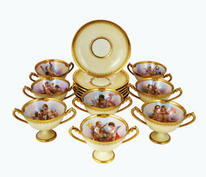 Dresden Ambrosius Lamm Set of 8  Cups Double Handle Hand Painted Antique