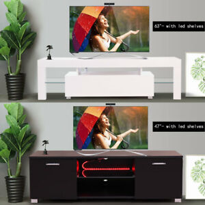 High Gloss TV Stand Cabinet with LED Light Shelve WhiteBlack Drawer Console