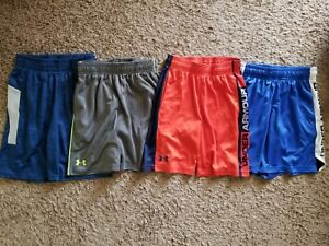 Lot Of 4 Pair Of Youth Boys Under Armour And Champion Shorts Size 6 Small