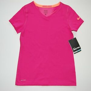 Nike Pro Core Girl's Short Sleeve Junior Running Top Pink Size M NWT
