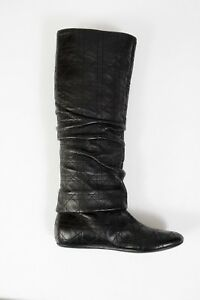 NEW Christian Dior High Boots Shoes Black Leather Quilted Size 8 38 Women's
