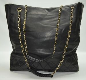 Authentic Vintage Chanel Quilted Leather Large Chain Straps Tote Shoulder Bag