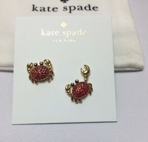 KATE SPADE Shore Thing Pave Crab Stud Earrings Gold Plated WBRUF497 wKS Dust Ba