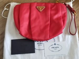 Prada Authentic Red Nylon Leather Wristlet EUC