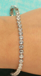 18K WHITE GOLD FINISH DIAMOND TENNIS BRACELET 2CT FOR ENGAGEMENT GIFT