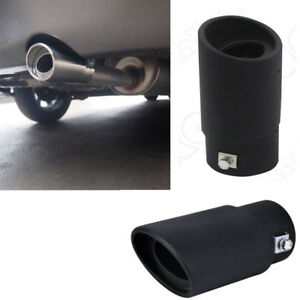 Black Round Stainless Steel Chrome Exhaust Tail Muffler Tip Pipe Car Universal