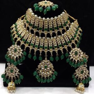Trending Bollywood Green Pearl Kundan Necklace Set For Women & Girls With Mang T