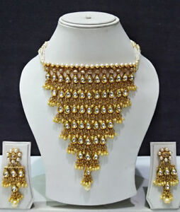Bollywood Padmavati Gold Tone Necklace Jewel Set With Earring For Women