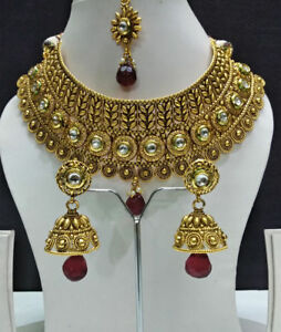 Fashionable Bridal Necklace Set Gold Tone Jewelry With Earring for Women & Girls
