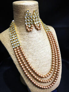 Golden Pearl Kundan Necklace Set With Earring For Women & Girls for Fashion