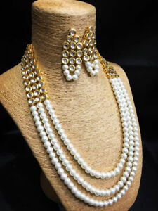 White Pearl Bridal Kundan Necklace Set With Earring For Girls
