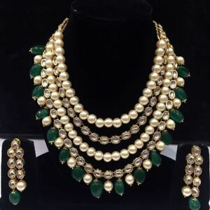 Green Drops Kundan Necklace Set With Earrings For Women And Girls