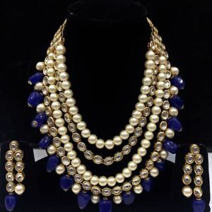 Blue Kundan Necklace Jewelry Set With Earrings For Women And Girls