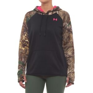 Under Armour Coldgear Storm Womens Black REALTREE Pullover Hoodie Womens Sz L $31.49