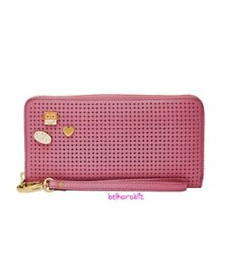 👀 NWT Fossil Women's Emma RFID Large  Zip Clutch Wild Rose Leather Wallet
