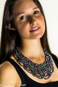 Bib Statement Necklace Scallop Lace Design Multi-color with Acrylic Beading