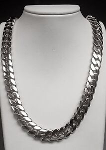 14k Solid White Gold Miami Cuban Curb Link 30