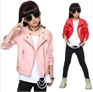 Girls Jacket Fashion Autumn Imitation Leather Jackets For Teenage Girl Children