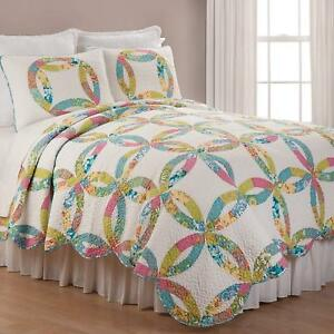 Emma's Wedding Ring Queen Quilt Set Traditional Quilt + 2 Shams, Scalloped Edge
