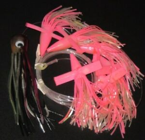 NEW 7 DAISY CHAIN 6 PINK BIRD TEASERS 1 SQUID Offshore Fishing Trolling Lures