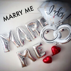 MARRY ME Letter Balloons with quot;I Doquot; Ring 36quot; Silver Engagement Ideas US SHIP