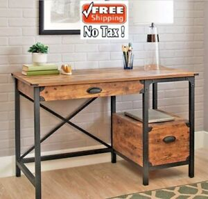 Rustic Country Desk Computer Wood Office Writing Drawers Filing Weathered Pine