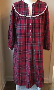 Vintage LANZ OF SALZBURG Red Plaid Flannel Long Nightgown Size Med. L 14 $26.97