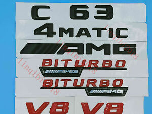 C63AMG4 MATIC BITURBO Letters Trunk Embl Badge Sticker for Mercedes Benz #3