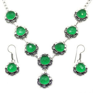 Crystal Necklace Earrings Jewelry Set For Women Girl Silver Plated Brass Green