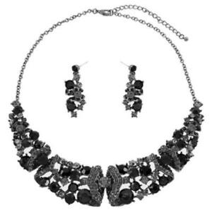 Crystal Evening Necklace  Set- Black- Post Earring-Hematite Plated-16