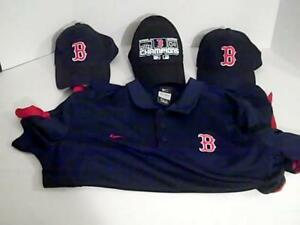 Boston Redsox Lot 4  Mlb  1 L Dry Fit Nike Shirt 3 Hats Caps Baseball
